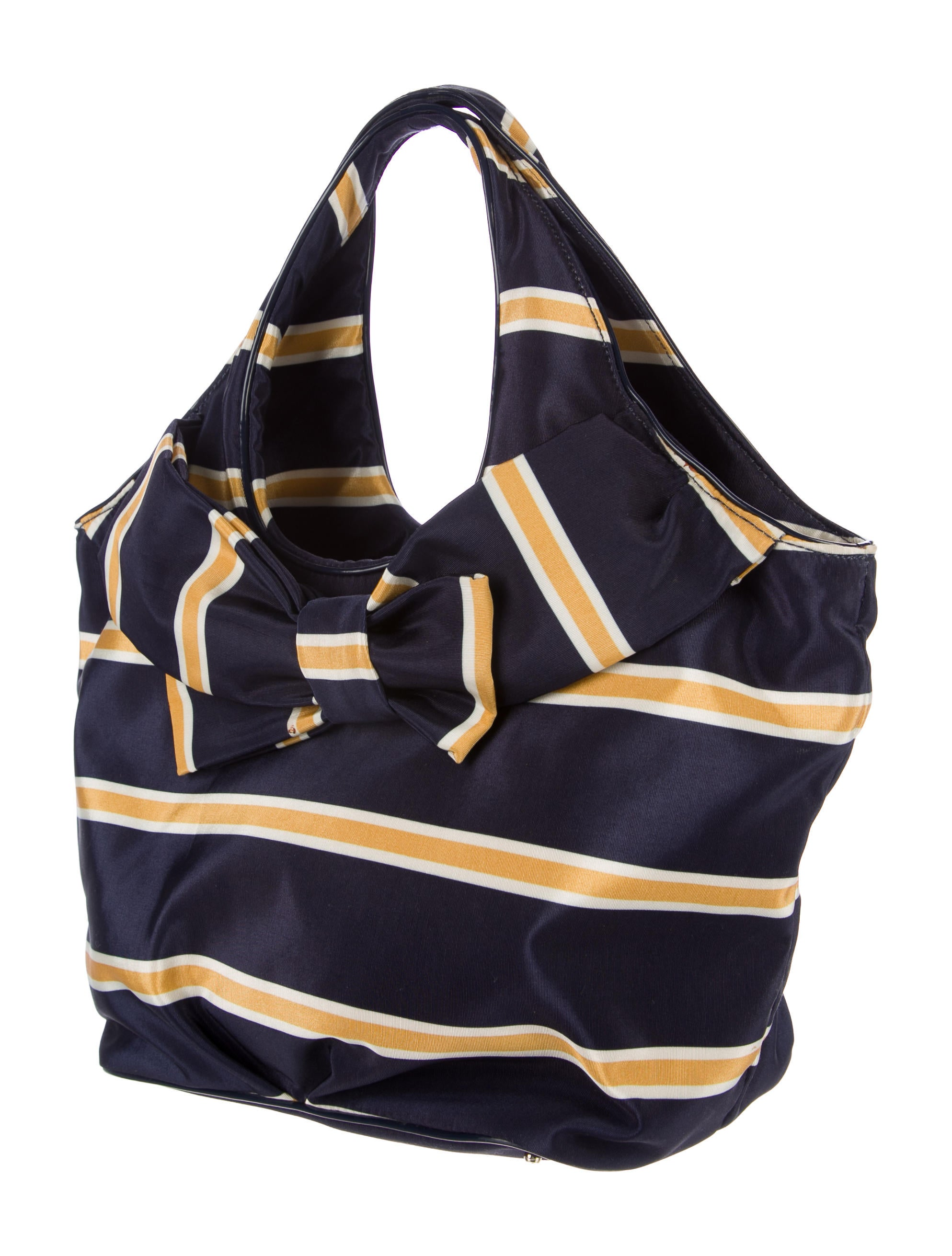 kate spade new york striped bow tote bag handbags wka67294 the realreal. Black Bedroom Furniture Sets. Home Design Ideas