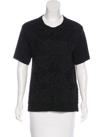 Kate Spade New York Lace Short Sleeve Sweater None