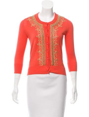 Kate Spade New York Embroidered Knit Cardigan None