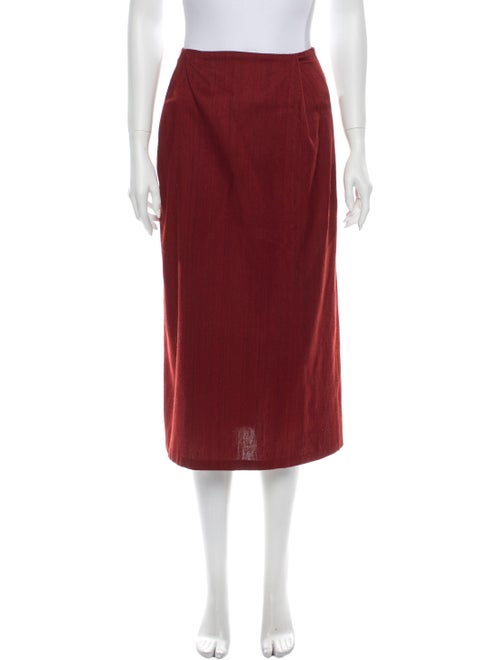 Kaarem Silk Midi Length Skirt Red