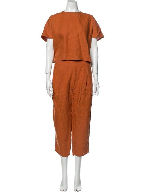 Kaarem Linen Pant Set Orange