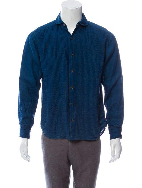 Kapital Pleated Linen Shirt blue