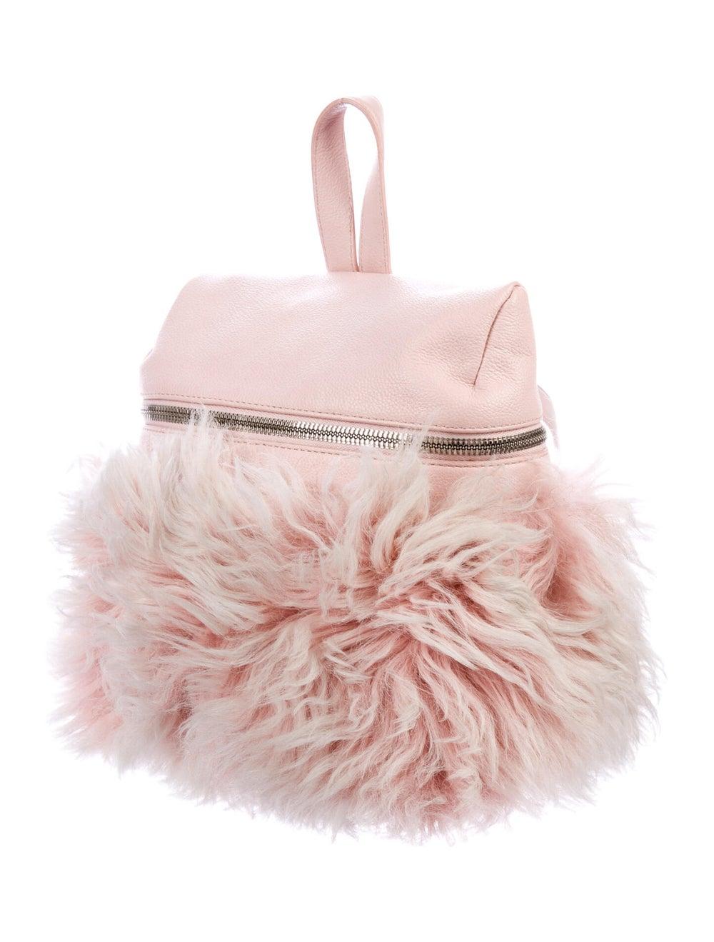 Kara Grained Leather Backpack Pink - image 3