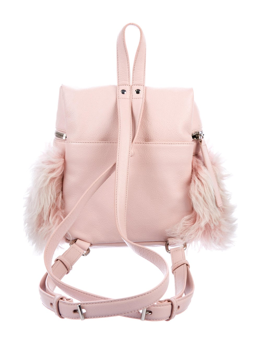 Kara Grained Leather Backpack Pink - image 4