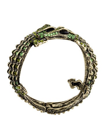 Hinged Crystal Alligator Bangle