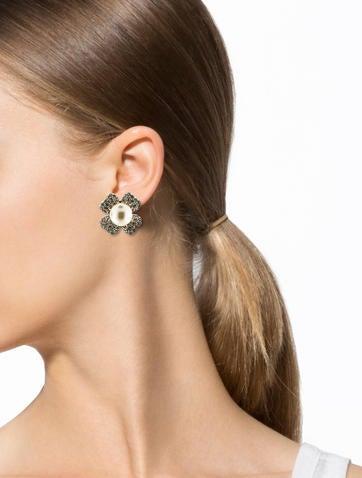 Crystal & Pearl Flower Clip-On Earrings