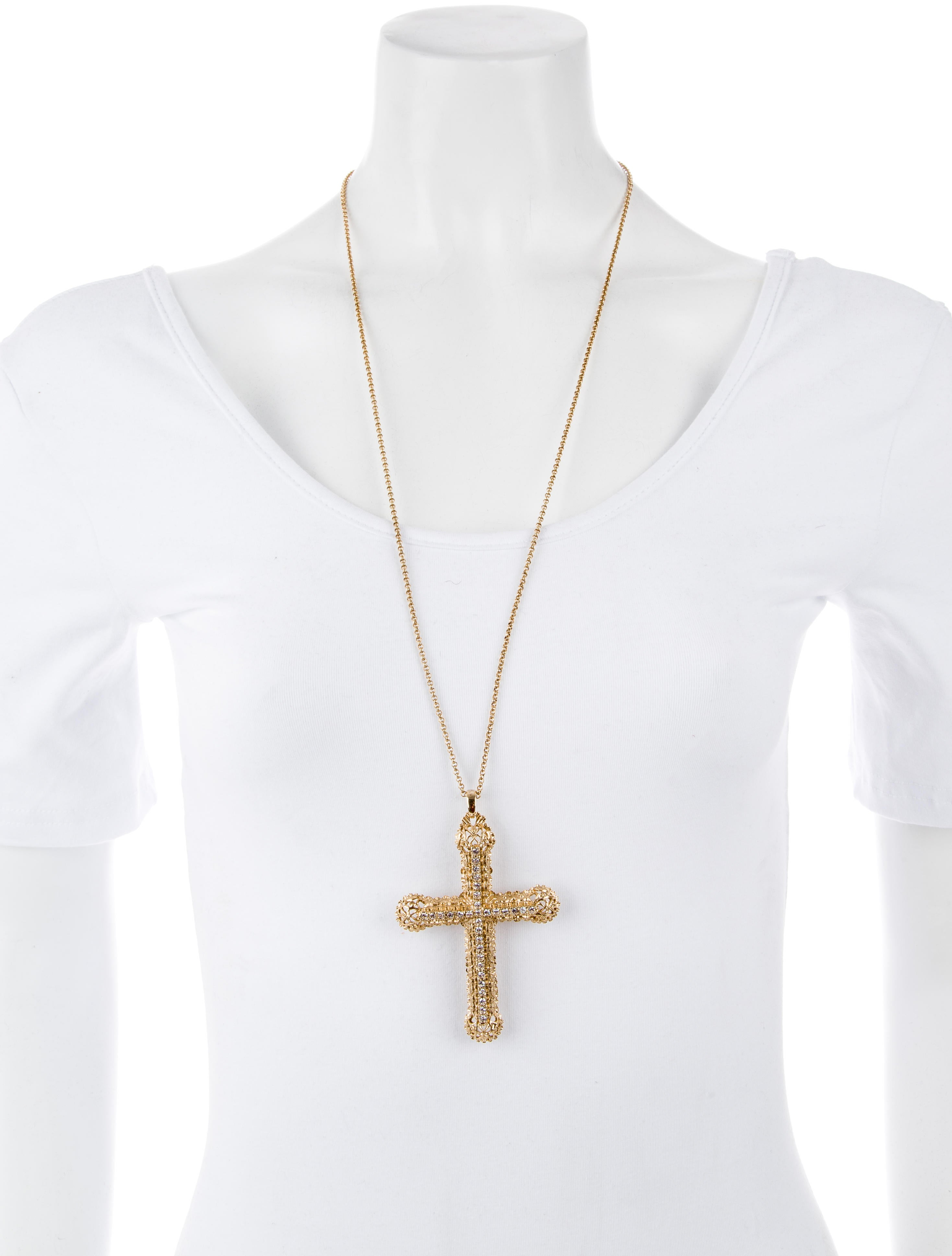 Kenneth jay lane large cross pendant necklace necklaces wke23038 large cross pendant necklace mozeypictures Image collections