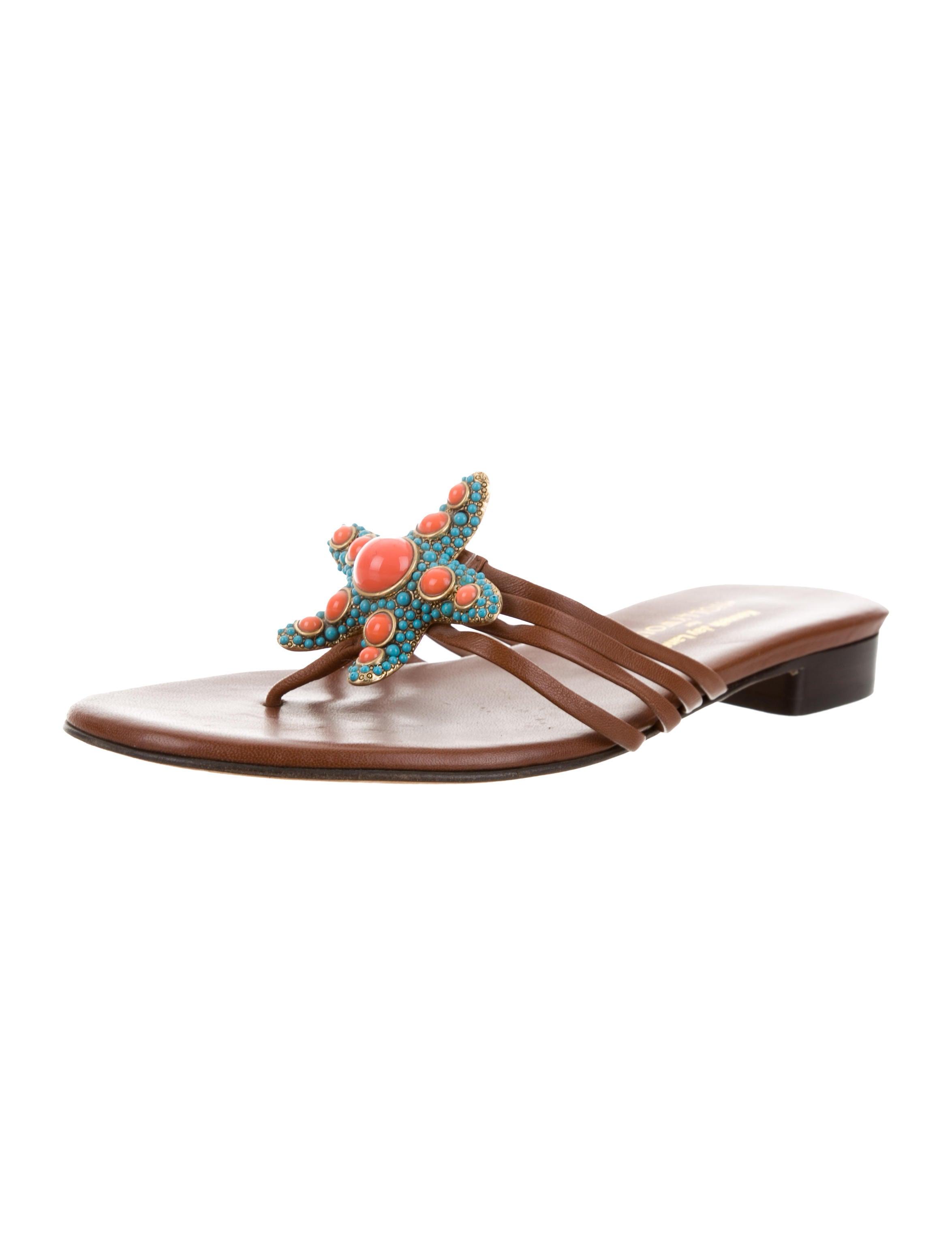 Kenneth Jay Lane Embellished Thong Sandals 2014 new for sale QfnxIH
