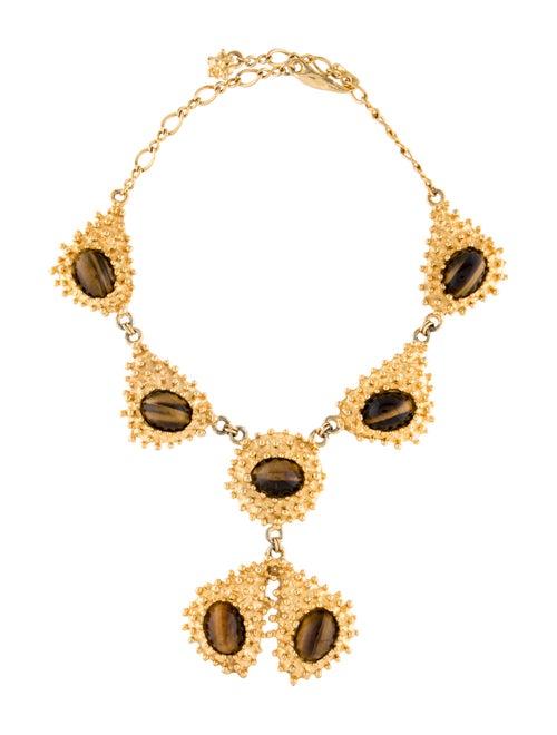Kenneth Jay Lane Tiger's Eye Collar Necklace Gold
