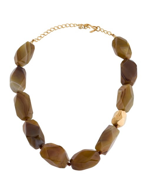 Kenneth Jay Lane Agate Bead Necklace Gold
