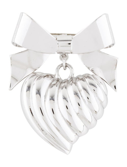 Kenneth Jay Lane Heart & Bow Brooch Pendant Silver