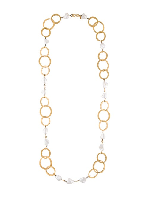Kenneth Jay Lane Faux Pearl Long Necklace Gold