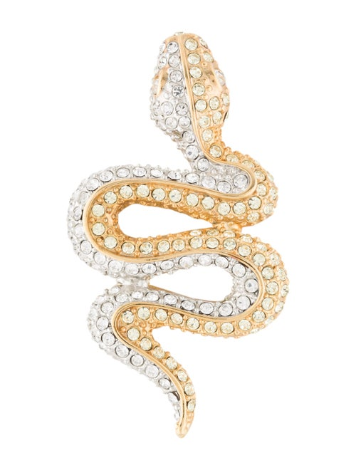 Kenneth Jay Lane Crystal Snake Brooch Gold