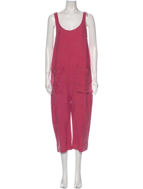Ilana Kohn Linen Scoop Neck Jumpsuit Pink