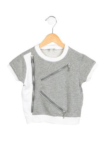 Kenzo Kids Girls' Zip-Embellished Crew Neck Top None