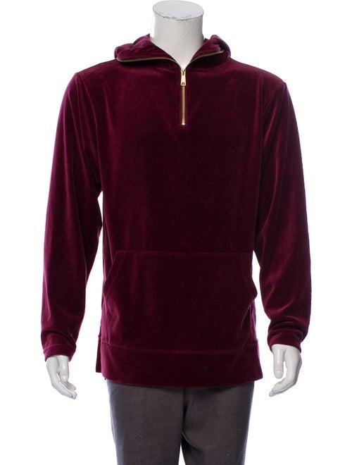 Kith Velvet Hooded Sweatshirt red