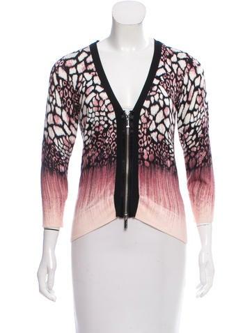 Karen Millen Printed Zip-Up Sweater None