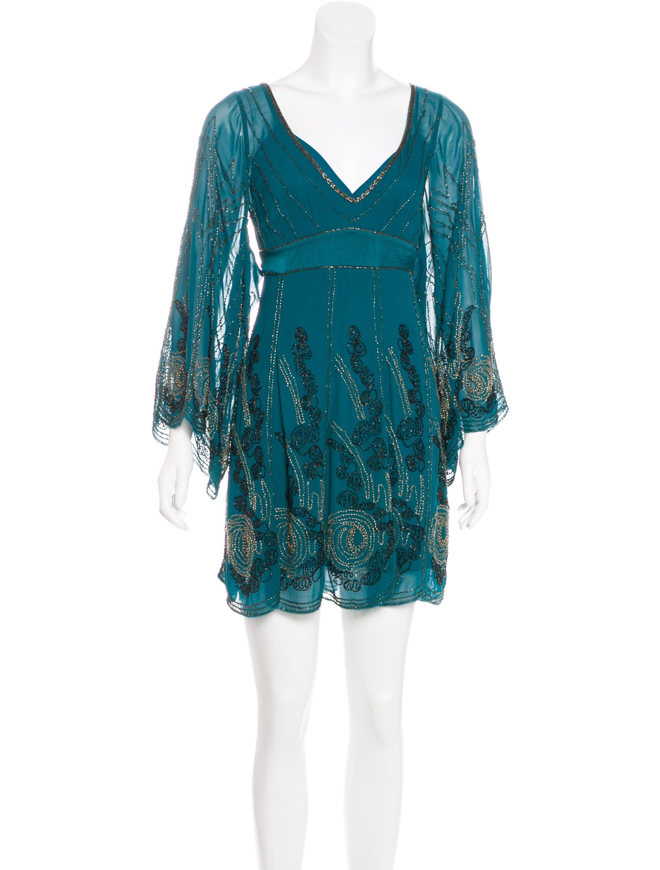 millen bead embellished silk dress clothing