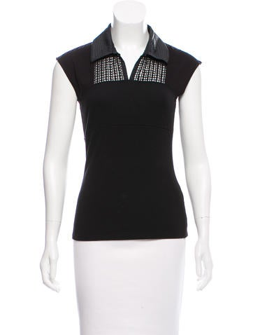 Karen Millen Sleeveless Faux Leather Top None