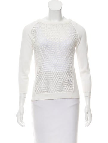 Karen Millen Crochet-Accented Knit Top None