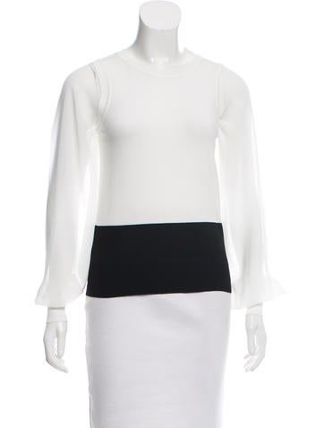 Karen Millen Long Sleeve Colorblock Top None