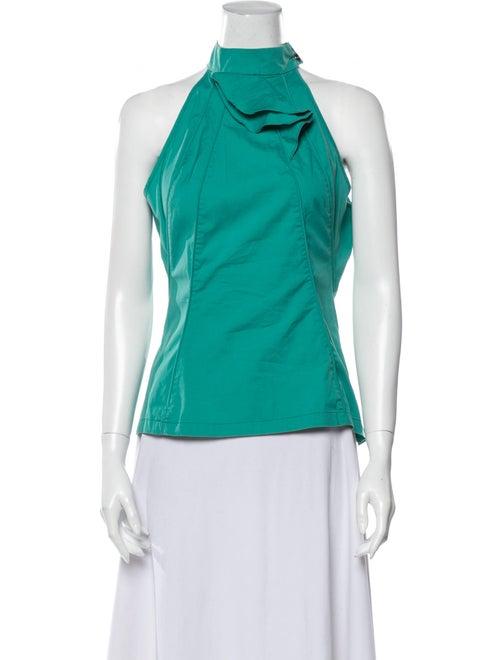 Karen Millen Halterneck Sleeveless Blouse Green