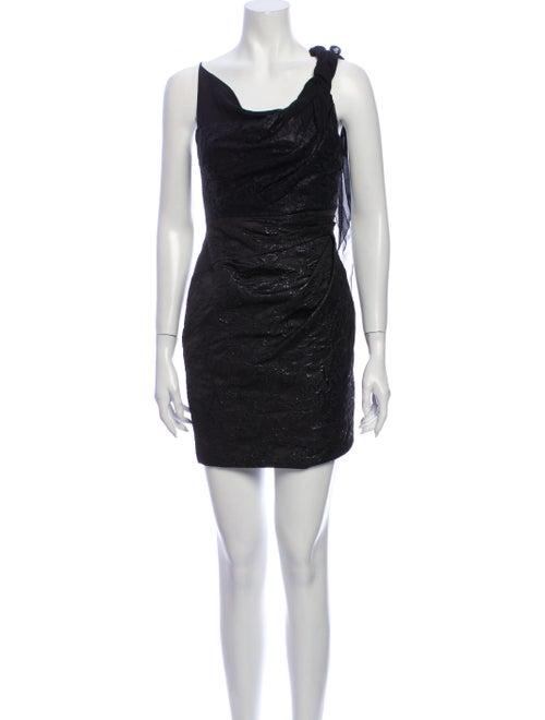 Karen Millen Asymmetrical Mini Dress Black