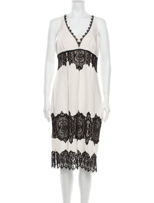 Karen Millen Lace Pattern Midi Length Dress White