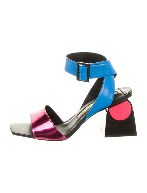 Kat Maconie Leather Printed Sandals Blue