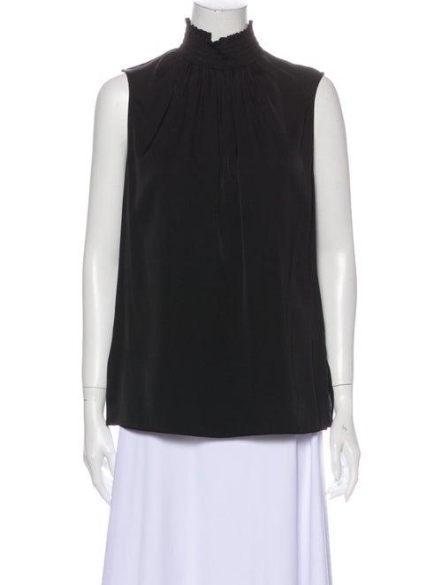Kobi Halperin Silk Mock Neck Blouse Black