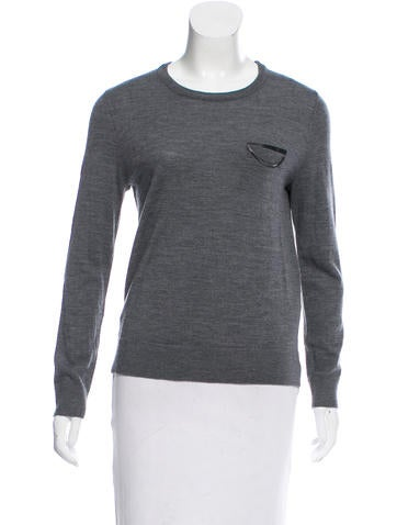 The Kooples Wool & Leather Sweater None