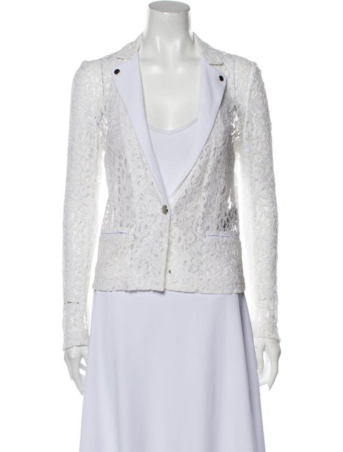 The Kooples Lace Pattern Blazer White