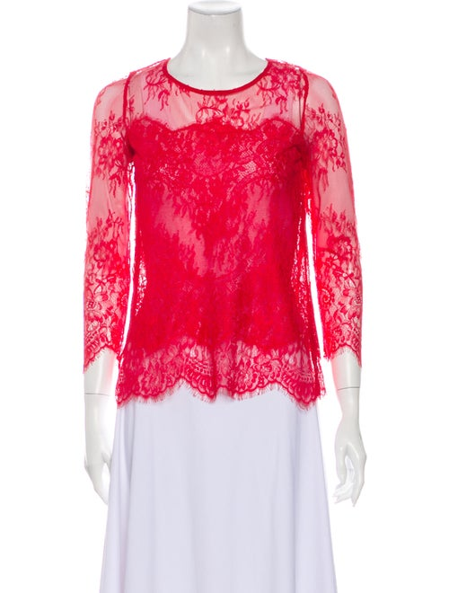 The Kooples Lace Pattern Scoop Neck Blouse Red