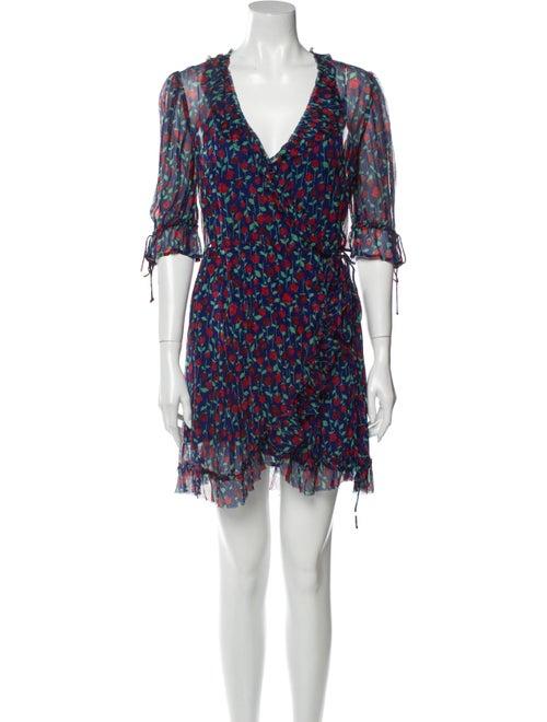 The Kooples Floral Print Mini Dress Blue