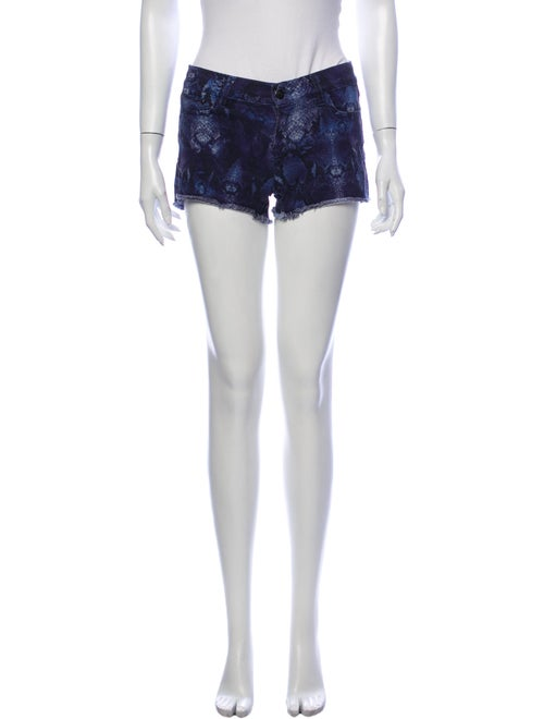 The Kooples Animal Print Mini Shorts Blue