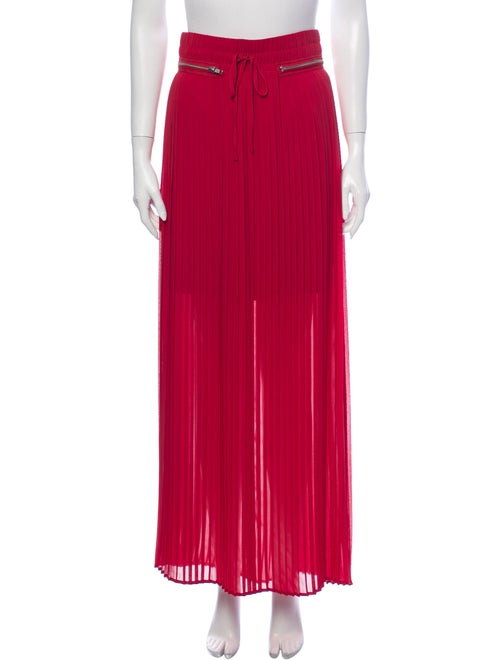 The Kooples Pleated Accents Long Skirt Red