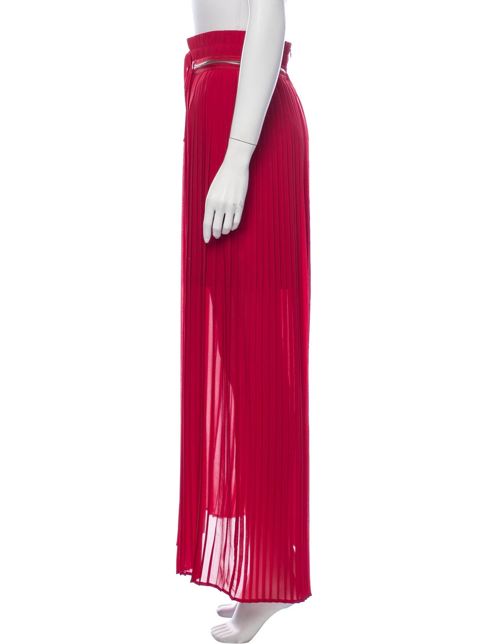 The Kooples Pleated Accents Long Skirt Red - image 2