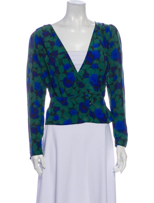 The Kooples Silk Floral Print Blouse Green