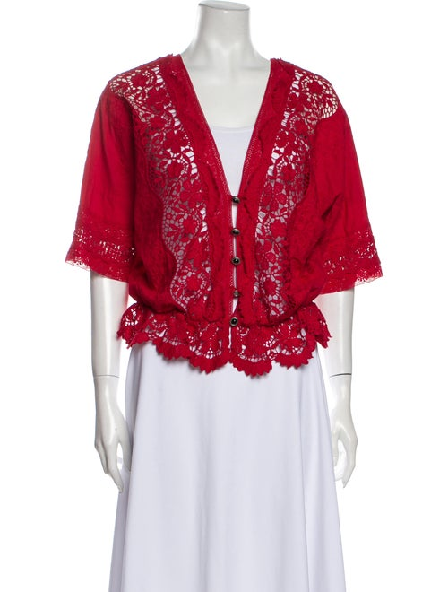 The Kooples Lace Pattern Plunge Neckline Blouse Re