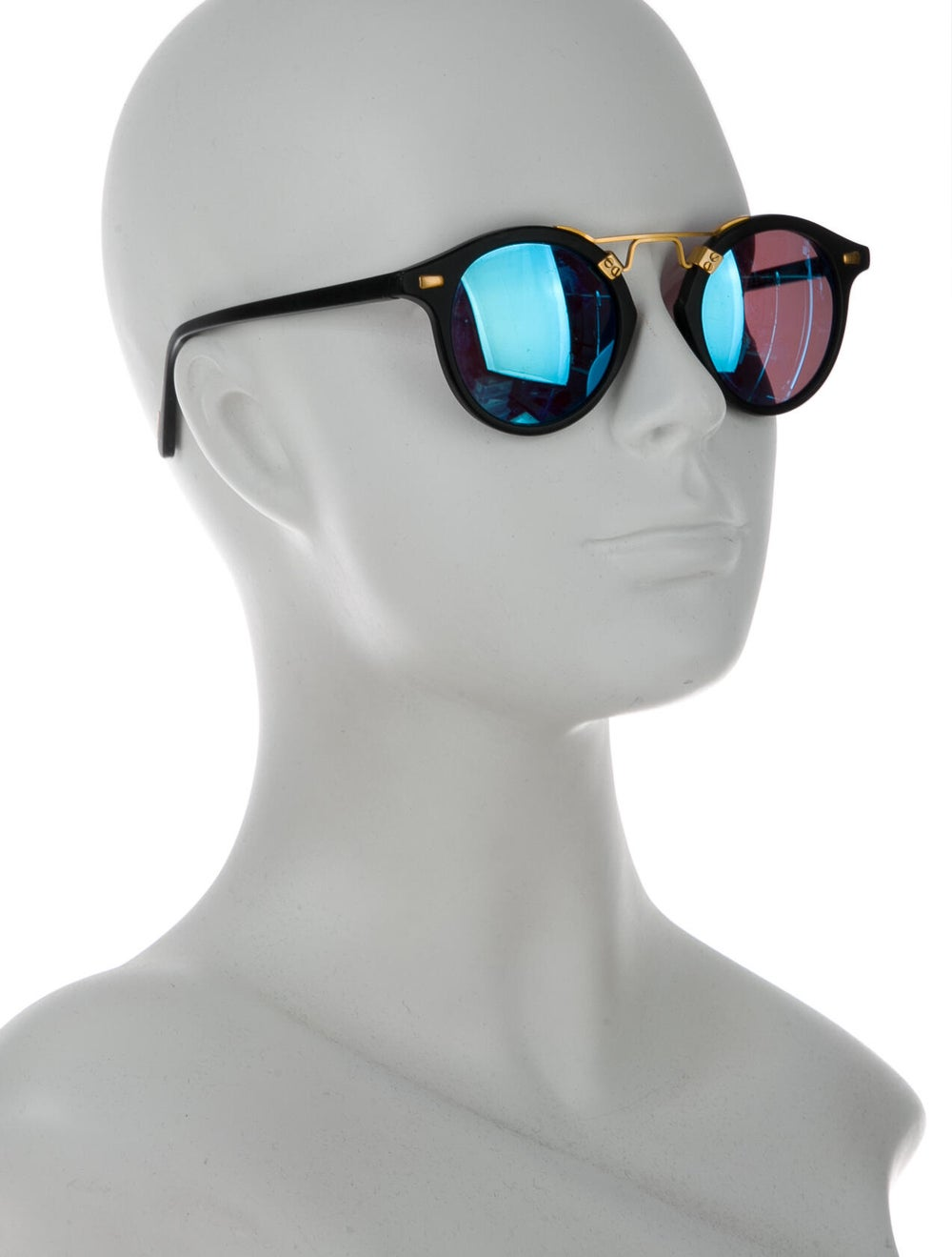 Krewe Mirrored Round Sunglasses Gold - image 4