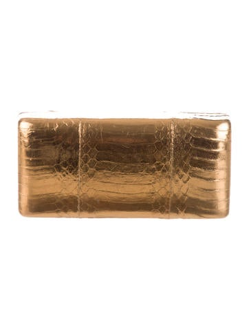 Metallic Embossed Leather Clutch