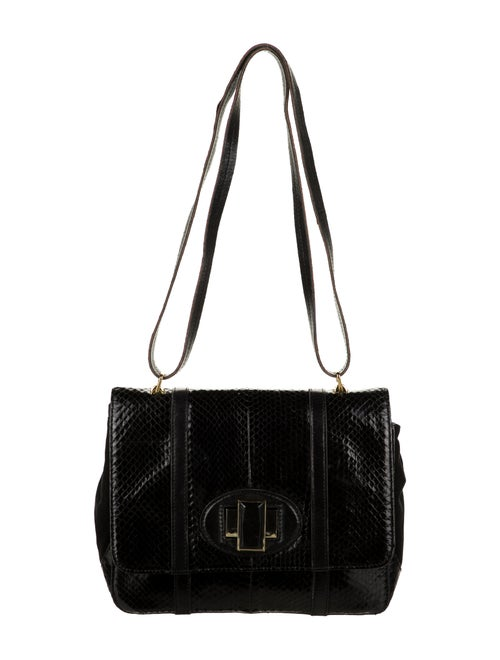 Kotur Suede-Trimmed Snakeskin Flap Bag Black