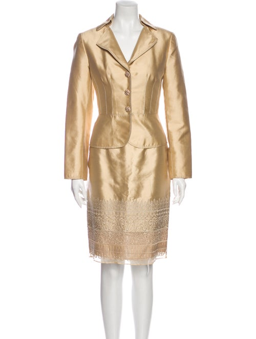 Kay Unger Printed Crystal Embellishments Skirt Set