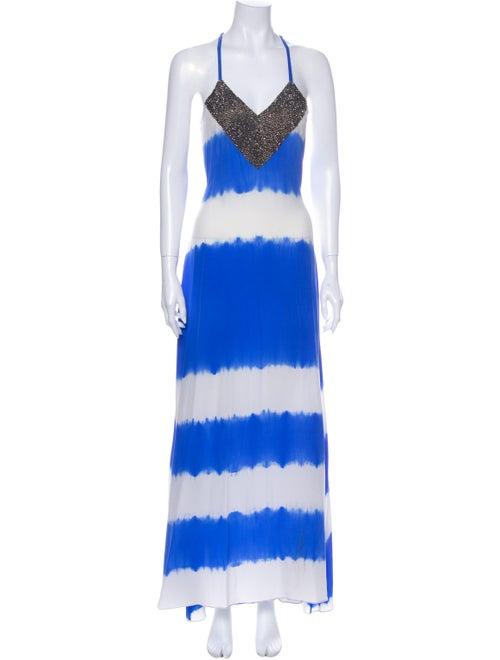 Karina Grimaldi Tie-Dye Print Midi Length Dress Bl