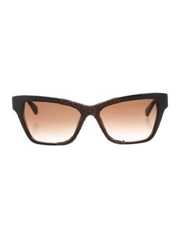 Kate Young x Tura Snakeskin-Accented Cat-Eye Sunglasses