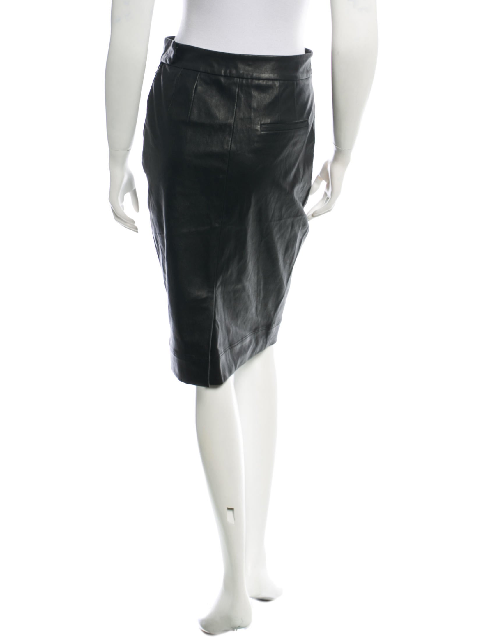 l agence leather knee length pencil skirt clothing