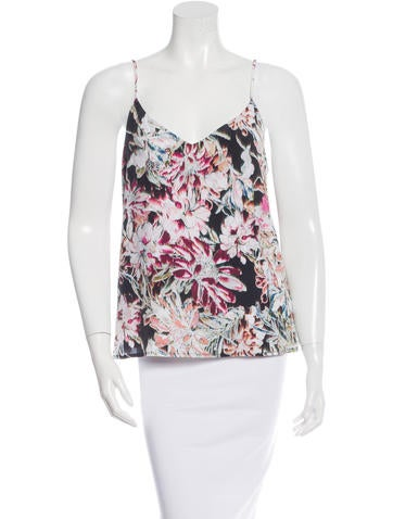 L'Agence Silk Floral Print Top None
