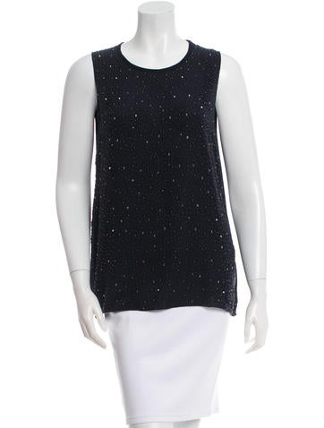L'Agence Silk Embellished Top None