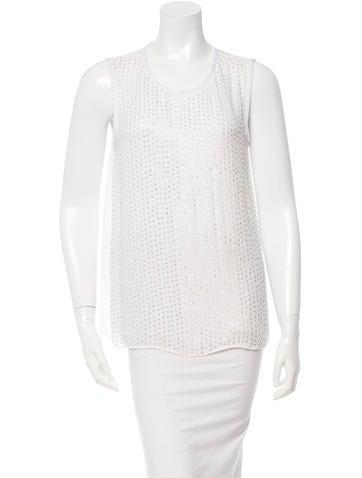 L'Agence Beaded Sleeveless Silk Top None