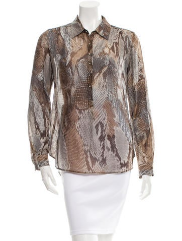 L'Agence Snake Print Button-Up Top None